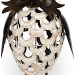metal owl white crackled - HOME ID