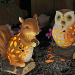 Solar filigree owl & squirrel - HOME ID